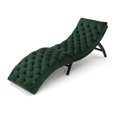 GDFStudio - Grasby Tufted New Velvet Chaise Lounge Emerald - Indoor Chaise Lounge Chairs  sc 1 st  Houzz : new chaise lounge - Sectionals, Sofas & Couches