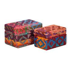 vidaXL Storage Boxes 2 Piece Steel Chindi Fabric Sari Organizer Chest Holder