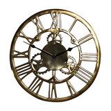 Antique Gold-Coloured Metal Cog Skeleton Wall Clock