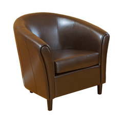 newport brown leather club chair round sofa chair - Round Sofa Chair