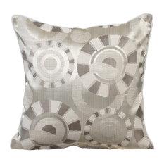 Ivory Circles Silk Decorative Cushion Cover, 40x40cm