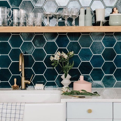 Navy Blue Hexagon Kitchen Backsplash
