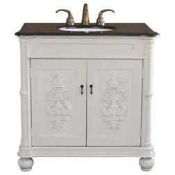 Elegant Traditional Bathroom Vanities And Sink Consoles Antique White Wood Bronze Finish Hardware Single Sink Vanity
