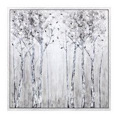 Deliniation Framed Oil Painting, White