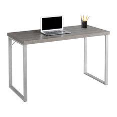 MOD - Ellison Silver Frame Computer Desk, Dark Taupe - Desks and Hutches