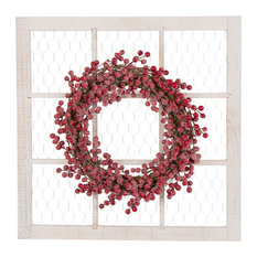 """24"""" Wooden Frame With Floral Wreath Wall Decor"""