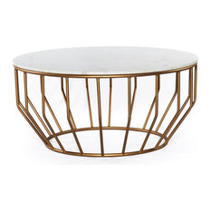 Gold Leaf Round Coffee Table, Marble White