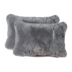"Natural Rugs - 100% Sheepskin New Zealand Pillows, Set of 2, Gray, 12""x20"" - Decorative Pillows"