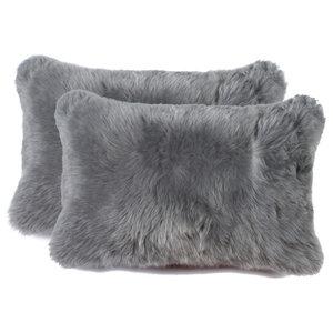 """100% Sheepskin New Zealand Pillows, Set of 2, Gray, 12""""x20"""""""