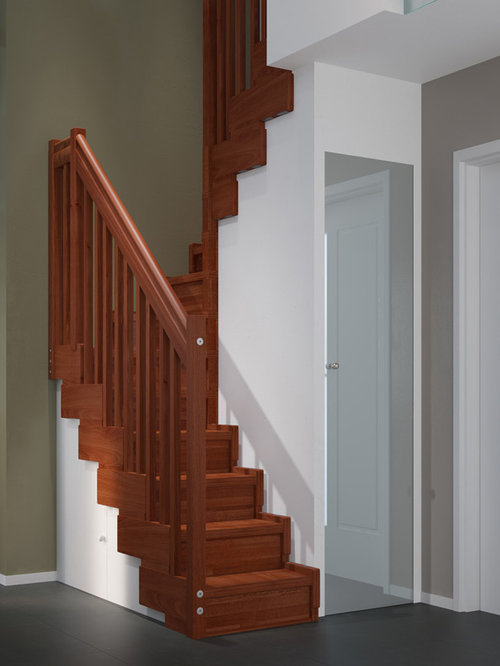 Awesome Mid Sized Transitional Wooden U Shaped Wood Railing Staircase Photo In Los  Angeles. Save Photo