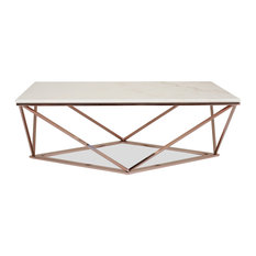 Aria Rose Gold Coffee Table With White Marble Top