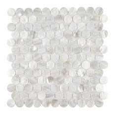 Seashell Penny Mosaic Wall Tile, White