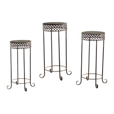 Kai 3-Piece Metal End Table and Plant Stands Set, Brushed Copper