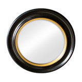 Round Black and Gold Wall Mirror, 65x65 cm