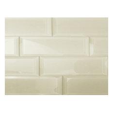 Beveled 3 in. x 12 in. Glass Backsplash Subway Wall Tile, 1 piece