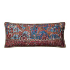 "P0655 Pillow, Blue, Multi, 13""x35"" Cover With Down"