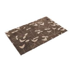 Merlin Floral Pattern Doormat, Brown and Beige
