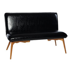 Black Faux Leather 2-Seater Sofa With Oak Legs
