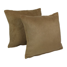 """18"""" Solid Faux Suede Square Throw Pillows, Set of 2, Tan"""