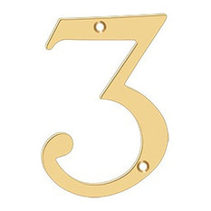 "RN6-3 6"" Numbers, Solid Brass, Lifetime Brass"
