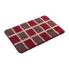 Bedroom Carpet Kitchen Bathroom Non-slip Cotton Door Mat (40x60cm, Red Lattice)