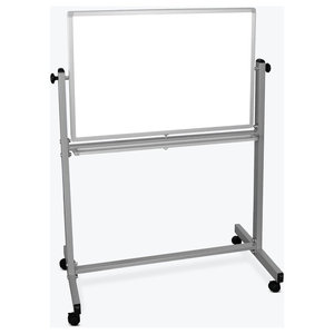 "Luxor Reversible Magnetic Whiteboard Easel and Chrome Frame, 4 Casters, 36""x24"""