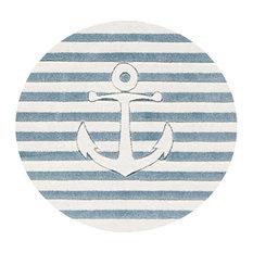 High Seas Round Children's Rug, Light Blue and White, 135 cm