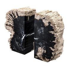 "Petrified Wood Bookends   Eichholtz Opia, black, 4""Wx3""Dx8""H"