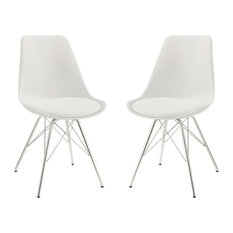 Contemporary Dining Chairs With Chrome Legs Set Of 2 White
