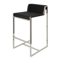Zola Leather Bar Stool with Polished Stainless Steel Frame, Black Leather