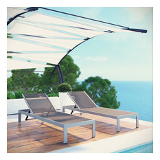 Shore Set of 2 Outdoor Patio Aluminum Chaises, Silver/Gray