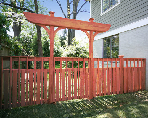 Craftsman style fence houzz for Craftsman style fence