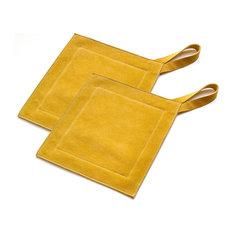 great useful stuff genuine leather suede kitchen heat protectors mustard pot holder