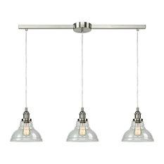 Modern Clear Glass Kitchen Island Pendant Lighting Fixtures, Brushed Nickel