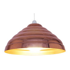 Ribbed Metal Easy-Fit Pendant Shade, Copper