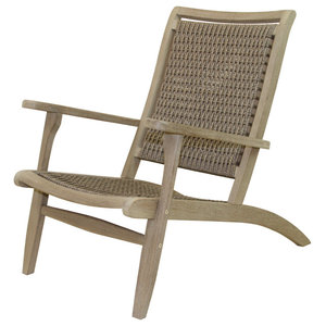 Gray Wash Eucalyptus And Driftwood Gray Wicker Lounger Tropical Outdoor Lounge Chairs By Outdoor Interiors Houzz