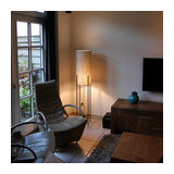 Floor Lamp Rich Black with Taupe Shade