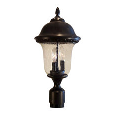 Glenn Aire Medium Post Mount with Seedy Glass, Oil Rubbed Bronze
