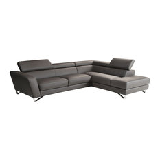 J M Furniture Sparta Leather Sectional Gray Color Right Hand Facing Sofas