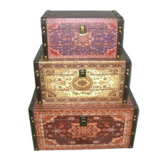 northlight seasonal oriental style earth tones decorative storage boxes redbrown - Decorative Storage Bins