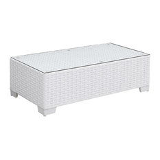 Aluminum Frame Rectangular Coffee Table with Woven Wicker Base & Glass On Top