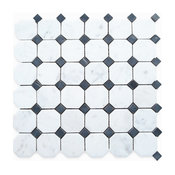 """12""""x12"""" Carrara White Octagon Mosaic Tile With Black Dots Honed, Chip Size: 2"""""""