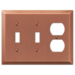 Century Steel 2-Toggle, 1-Duplex Wall Plate, Antique Copper