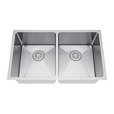 "32""x19"" Double Bowl 50/50 Undermount Stainless Steel Kitchen Sink, With Strainer"