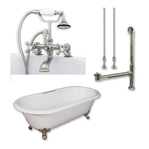"""Cast Iron Double Ended Clawfoot Tub, Brushed Nickel Plumbing Package, 67""""x30"""""""