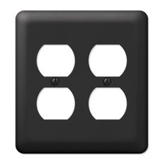 AmerTac  Devon Steel 2Duplex Wall Plate Black  Switch Plates and Outlet