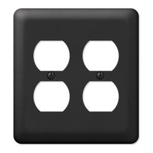 Devon Steel 2-Duplex Wall Plate, Black