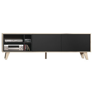 Zaiken Oak and Anthracite TV Cabinet
