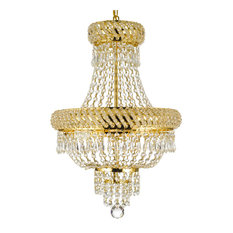 "French Empire Crystal Chandelier Chandelier Gold, 22""x15"", 3-Light"