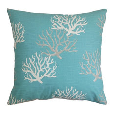 "The Pillow Collection 18"" Square Hafwen Coastal Throw Pillow"